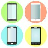 Grupo de ícones lisos do smartphone Imagens de Stock Royalty Free