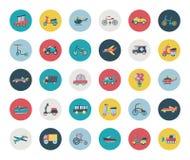 Grupo de ícones lisos do transporte Fotografia de Stock