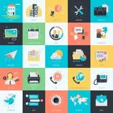 Grupo de ícones lisos do universal do estilo do projeto Imagem de Stock