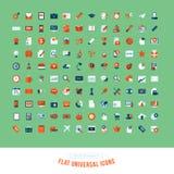 Grupo de ícones lisos do universal do projeto Fotografia de Stock