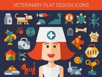 Grupo de ícones lisos do veterinário e do animal de estimação do projeto Imagens de Stock