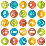 Grupo de ícones lisos do vetor com pontas para peso perdedor Esporte, dieta e estilo de vida saudável ilustração stock