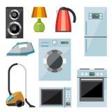 Grupo de ícones lisos dos aparelhos eletrodomésticos Fotos de Stock