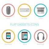 Grupo de ícones lisos dos dispositivos Foto de Stock
