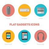 Grupo de ícones lisos dos dispositivos Fotos de Stock Royalty Free