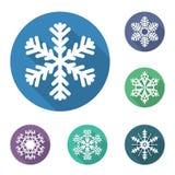 Grupo de ícones lisos dos flocos de neve, ilustração do vetor fotos de stock royalty free