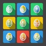 Grupo de ícones lisos dos ovos da páscoa Fotografia de Stock Royalty Free