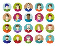 Grupo de ícones lisos dos povos Foto de Stock Royalty Free