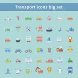Grupo de ícones lisos dos veículos do transporte Fotografia de Stock