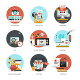 Grupo de ícones lisos e coloridos dos conceitos Imagem de Stock Royalty Free