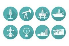 Grupo de ícones lisos gráficos do petróleo e gás do vetor para o petróleo indus ilustração stock