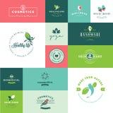 Grupo de ícones lisos modernos da beleza e da natureza do projeto Imagens de Stock