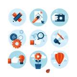 Grupo de ícones lisos modernos do conceito de projeto no tema do mercado Foto de Stock Royalty Free