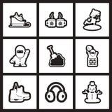 Grupo de ícones lisos no Natal preto e branco ilustração do vetor
