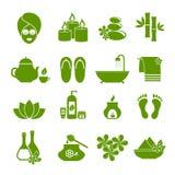 Grupo de ícones lisos para termas Imagem de Stock Royalty Free