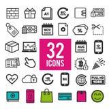 Grupo de ícones lisos, porque apps andmobile da Web - finança do negócio da compra do curso de uma comunicação Fotos de Stock