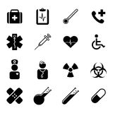 Grupo de ícones lisos pretos - medicina, saúde, ciência e cuidados médicos Fotografia de Stock