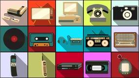 Grupo de ícones lisos simples do estilo com sombra longa da eletrônica retro velha do moderno do vintage, telefones celulares, câ ilustração do vetor