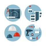 Grupo de ícones lisos sobre a construção e a engenharia Fotografia de Stock