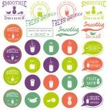 Grupo de ícones, de logotipo, de elementos, de símbolos, de emblemas e de etiquetas - batido, café a ir, frappe, suco, cocktail d Fotos de Stock