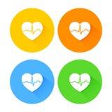 Grupo de ícones longos lisos do coração da sombra Foto de Stock Royalty Free