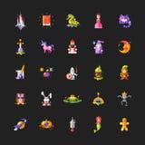 Grupo de ícones mágicos do projeto liso dos contos de fadas e Imagens de Stock