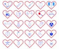 Grupo de 25 ícones médicos ilustração royalty free