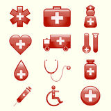 Grupo de ícones médicos ilustração stock