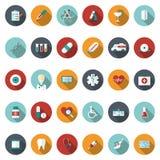 Grupo de ícones médicos lisos Imagens de Stock Royalty Free