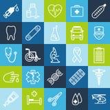 Grupo de ícones médicos na linha estilo fina Imagens de Stock Royalty Free