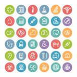 Grupo de ícones médicos redondos lisos Fotos de Stock Royalty Free