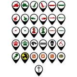 Grupo de ícones militares Fotografia de Stock