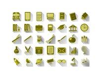 Grupo de ícones na escola e em assuntos científicos ilustração stock
