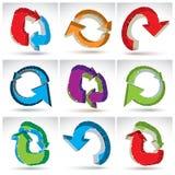 Grupo de ícones na moda da atualização da malha 3d no branco Imagem de Stock Royalty Free
