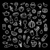 Grupo de 55 ícones no tema do alimento, de pratos diferentes e de culinárias Foto de Stock