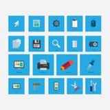 Grupo de ícones no tema do projeto com azul da sombra imagem de stock