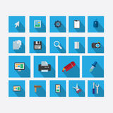 Grupo de ícones no tema do projeto com o azul da sombra do vetor imagem de stock
