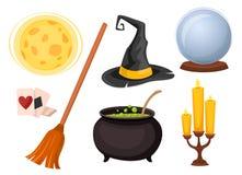 Grupo de ícones para a adivinhação e truques mágicos ilustração stock