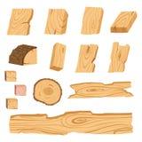 Grupo de ícones de placas de madeira, de barras, e de partes textured de uma árvore Ilustração do vetor ilustração stock