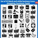 Grupo de ícones preto e branco bonitos do negócio Imagens de Stock Royalty Free