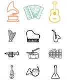Grupo de ícones pretos dos instrumentos musicais. ilustração do vetor