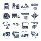 Grupo de ícones pretos frete e de transporte rodoviário do passageiro, caminhão ilustração royalty free