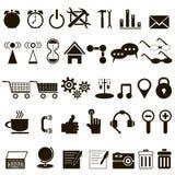 Grupo de ícones pretos sobre o Internet Imagens de Stock Royalty Free