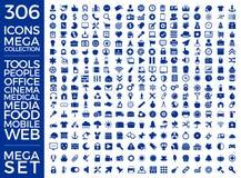 Grupo de ícones, projeto do vetor da coleção do ícone da qualidade foto de stock