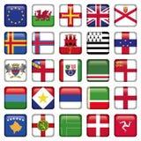 Grupo de ícones quadrados europeus da bandeira Foto de Stock