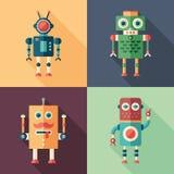 Grupo de ícones quadrados lisos dos robôs inteligentes com sombras longas ilustração stock