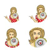 Grupo de ícones redondos do avatar do pop art do vetor para usuários de trabalhos em rede sociais, blogues, ícones do perfil ilustração stock