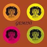 Grupo de ícones redondos, estilo liso, sinal do zodíaco ilustração stock