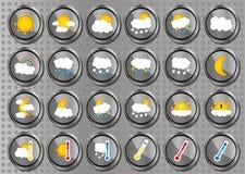 Grupo de 24 ícones redondos lisos do cromo metálico realístico do tempo do vetor no fundo moderno do metal Fotografia de Stock Royalty Free