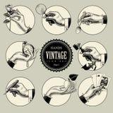 Grupo de ícones redondos no estilo da gravura do vintage com mãos e CRNA ilustração royalty free